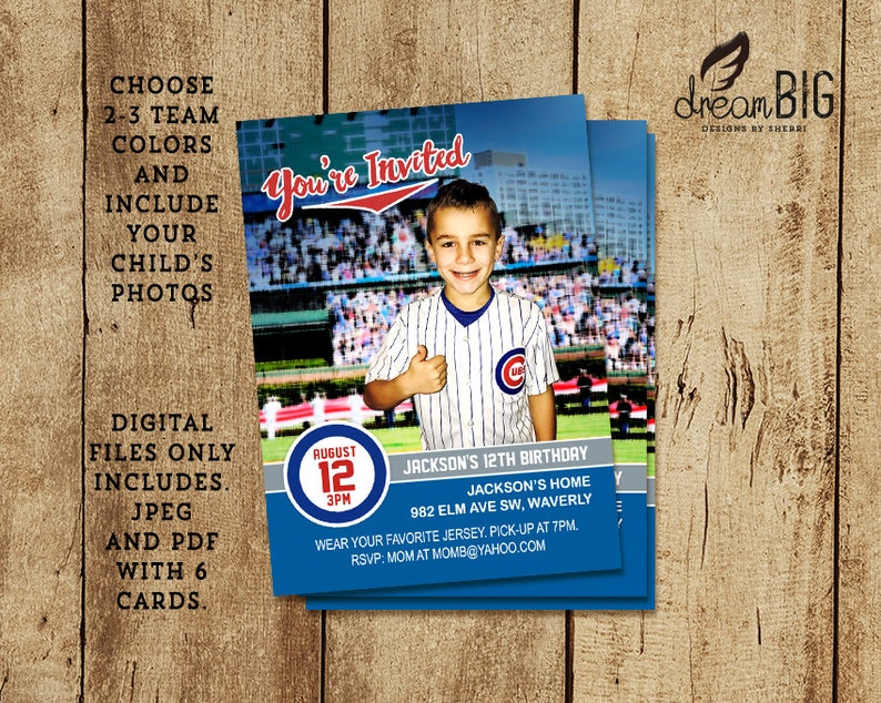 Baseball Card Birthday Invite Child Photo Invitation Sport DIY Print At