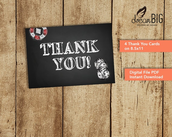Casino Thank You Card For Poker Birthday Party Digital Pdf Etsy