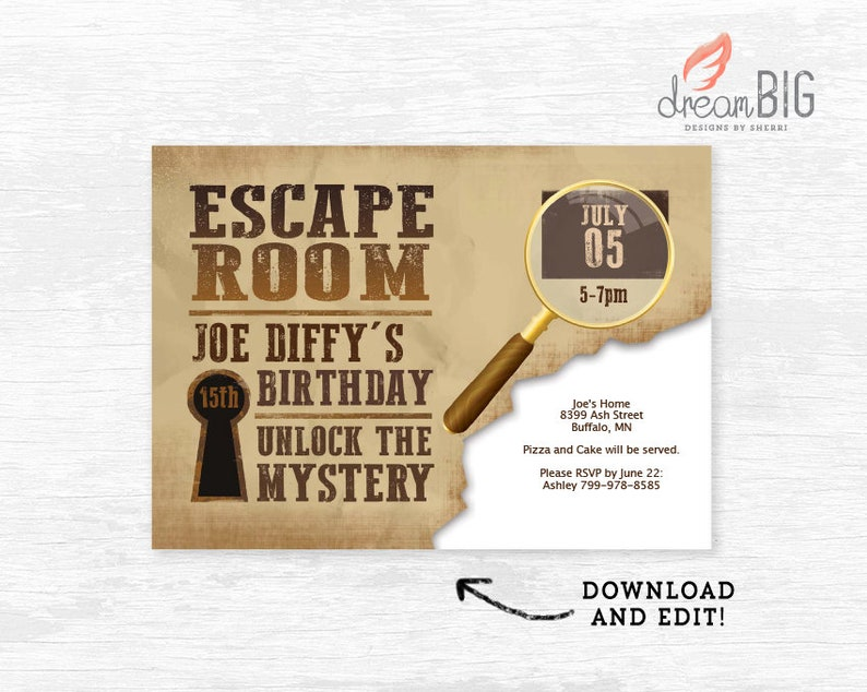 picture relating to Free Escape Room Printable identify Escape Space Invitation Birthday Invite Prompt Down load Customise Puzzle Journey Address Clues Editable Printable Template