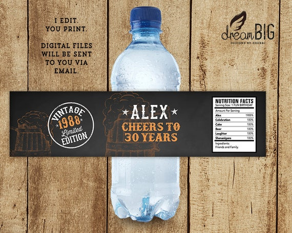Water Bottle Label Vintage Edition Cheers To Any Number Of Etsy