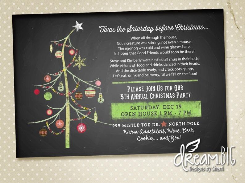 Funny Poem Christmas Party Invitation