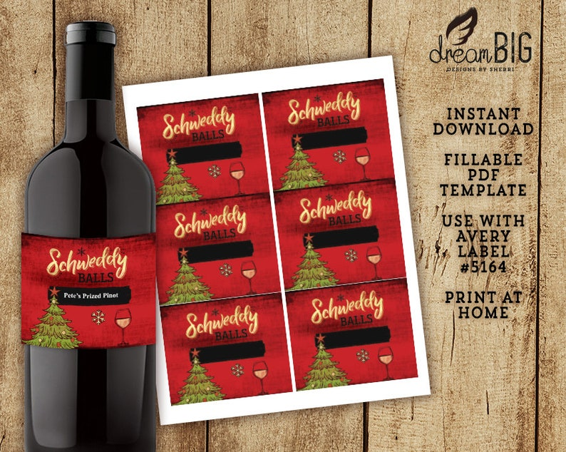 Schweddy Balls Wine Labels, Christmas Party Gifts, Custom Instant Download  File, Fillable PDF Template // Print at Home