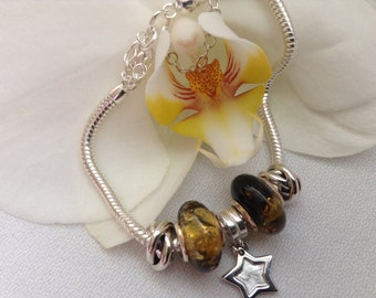 Baltic Amber charm beads bracelet. 925 sterling silver charms bracelet. Organic. Gift for her.