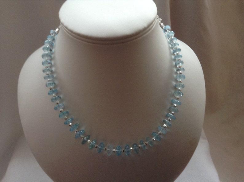 SALE...Sky blue Topaz statement necklace Sparkly genuine Topaz necklace.