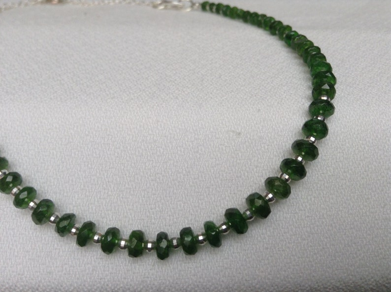 Statement necklace and earrings set Forest green gems Sterling silver set Russian Chrome Diopside set