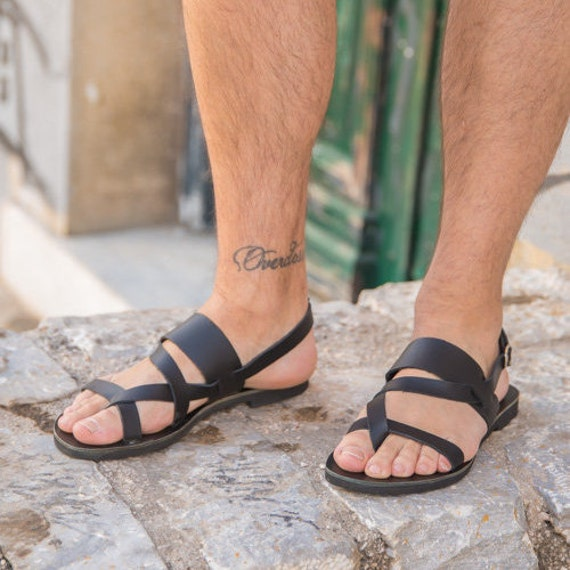 Mens Leather Sandals, Greek ancient mens sandals, Roman Mens Sandals, Mens leather slides, Handmade, Black Men Sandals, Summer men Sandals