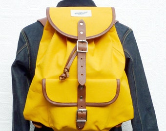 Heavyweight Yellow Canvas & Leather Backpack / Rucksack / Day Pack/ Work Bag for Men. Made in UK. Free UK Postage