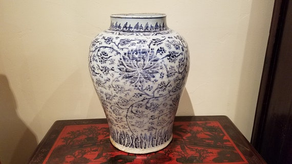 Antique Chinese Ceramic Blue And White Porcelain Baluster Jar Etsy