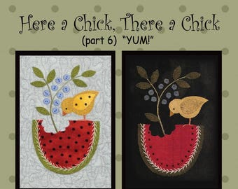Here A Chick, There A Chick Pattern #6 - All Through the Night - Wool Applique