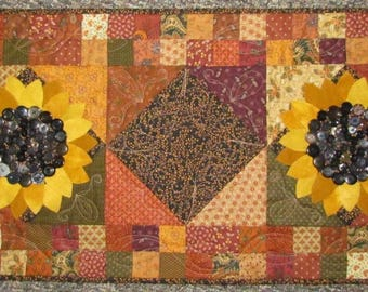 Wool & Cotton Sunflower Table Runner