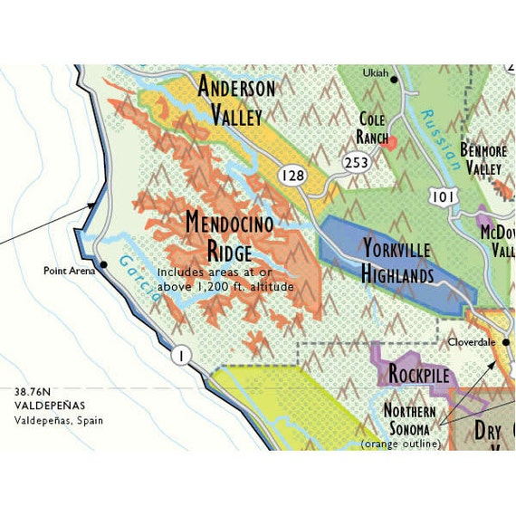 De Long's Wine Map of California 24
