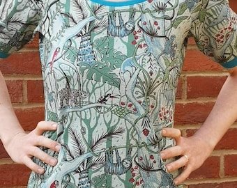 cf1f6120 Organic women's T-Shirt-Jungle print-Sloth shirt-Handmade