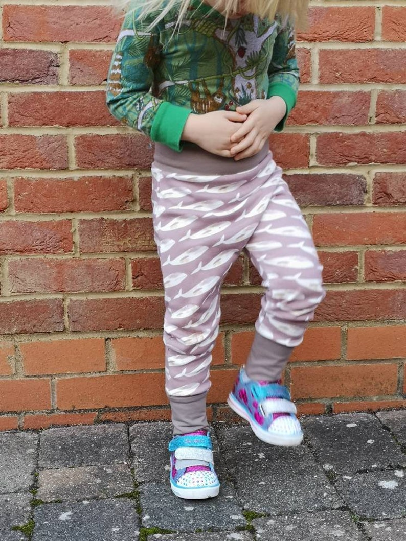 Baby harem pants-Organic cotton-Whales-Unisex baby clothes-Toddler leggings