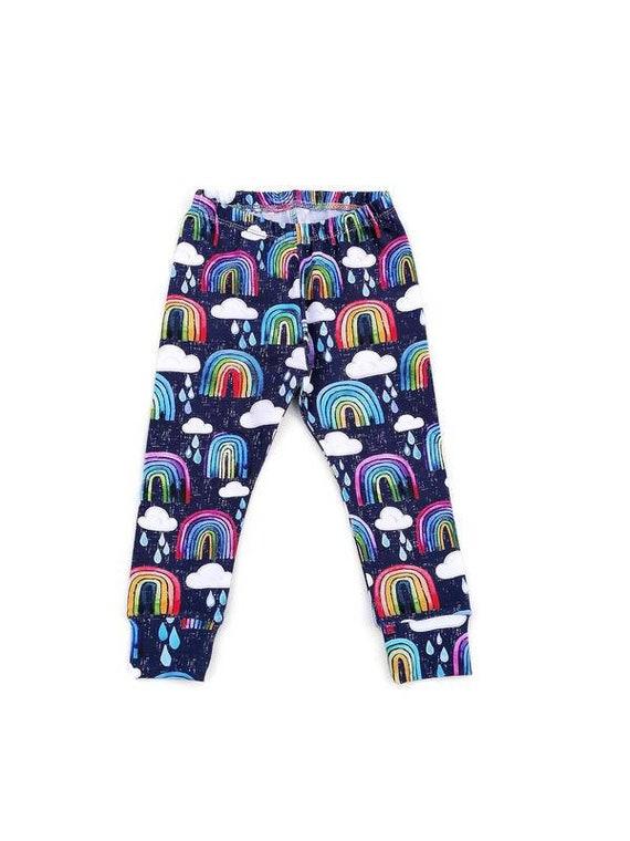 NEW rainbow drops baby leggings organic baby clothes baby boy leggings toddler trousers rainbow, baby gift baby girl leggings