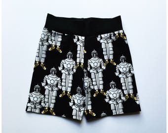 Organic shorts, Comic knights, Monochrome shorts, Summer shorts, Kids clothes, Boy, Girl, Black, Comfy