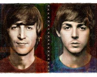John Lennon Paul McCartney Beatles Limited Edition Giclee Art Print Original Artwork The And Fan