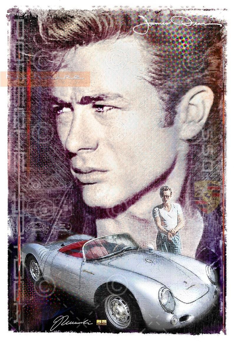 141c24bcba1cea Gelimiteerde giclée art print van James Dean de Porsche 550