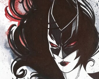 Batwoman original drawing / / Original drawing of Batwoman / / birthday gift / / Gift / / Birthday