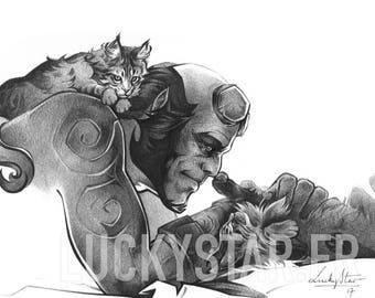 Hellboy//print on matte paper//print on mat paper//