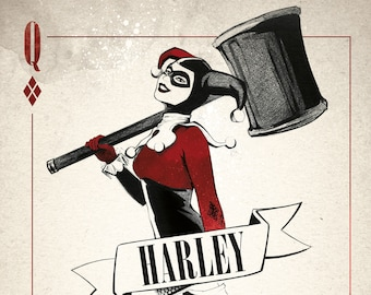 Harley Quinn // Digital Print // Original Gift Idea // Birthday // Art // Table // Noel // Suicide Squad // Gotham // Gift