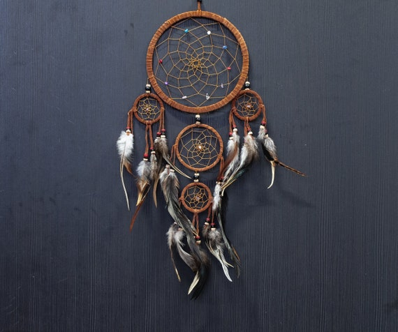 """Dream Catcher brown wall hanging decoration bead  ornament feathers long 22 /"""""""