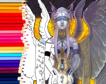 Printable Coloring Book Page for Adults - Keeper of Secrets Fantasy Angel Goddess Blindfolded with Key Surreal Art Nouveau Style Line Art