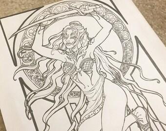 Original Ink Drawing Mucha Inspired Fantasy Art Bellydancer Tattooed Elf with Decorative Border