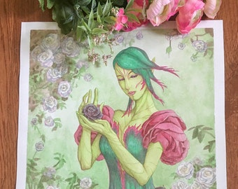 Original Watercolor Painting The Rose Unseelie Light Elf Odd Fae Card Game Fantasy Fairy Art with Flower Dress