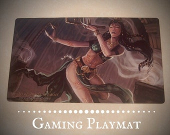 Fantasy Art Playmat Whirling Belly Dancer with Lotus Opium Pipe Desert Fantasy Collectible CCG Gaming Mat