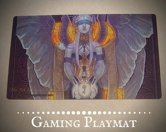 Fantasy Art Playmat Dark Fallen Angel Woman with Key and Corset CCG Collectible Gaming Mat