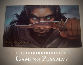 Fantasy Art Playmat Oathbound Desert Warrior Prince with Curved Dagger CCG Collectible Gaming Mat