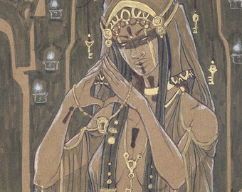 Original Art Drawing Priestess of the Keeper Dark Fantasy Tarot Gothic Keys and Keyhole Veiled Woman in Pen and Gold Ink