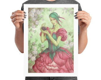 Poster Art Print The Rose Seelie Light Fairy with White Roses and Pink Petal Dress Olde Fae Card Game Art