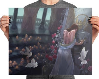 ART POSTER PRINT Kushiel's Dart Phedre at the Temple with Roses, Doves, and Candles Fantasy - Choose Your Size