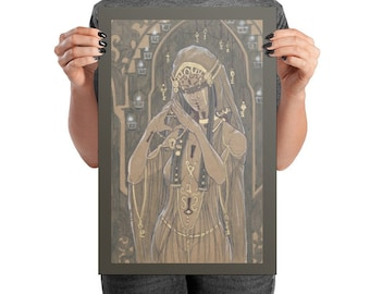 Fine Art Print High Priestess of the Keeper of Secrets Gold Goddess with Candles, Locks, and Keys in a Temple Fantasy Art