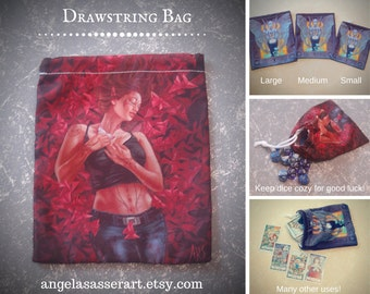 Drawstring Dice Tarot Oracle Deck Bag with Urban Fantasy Elf Woman in Jeans and Tank Top Surrounded by Red Origami Butterflies