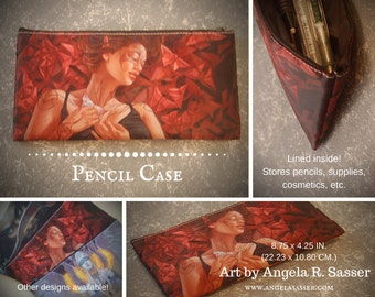 Fantasy Art Pencil Case with Zipper Closure Biker Elf Woman With Tribal Tattoos and Bloody Red Butterflies Cosmetics & Art Supplies Storage