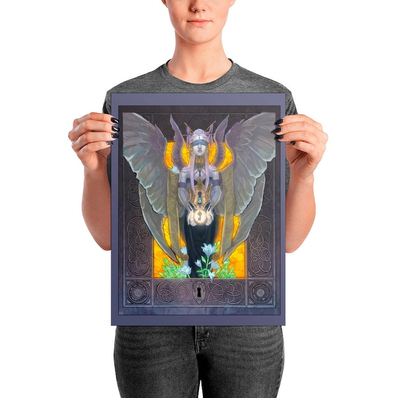 ART POSTER PRINT Keeper of Secrets Winged Purple Gold Dark image 0