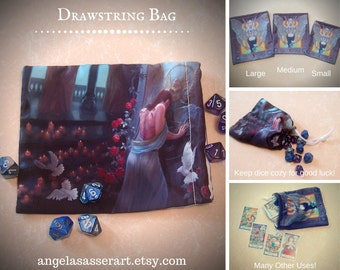 Drawstring Dice Tarot Oracle Deck Bag with Kushiel's Legacy Inspired Phedre at the Temple of Archangel Kushiel
