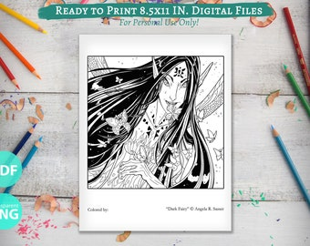 Printable Coloring Book Page for Adults - Dark Unseelie Fairy with Butterflies and Moths Line Art