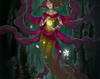 LIMITED EDITION CANVAS Print Persephone Queen of the Underworld Spring Goddess Fantasy Art - Run of 250