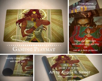 Fantasy Art Playmat The Uncrucified Solar Exalted Eclipse Caste Female Desert Character CCG Collectible Gaming Mat