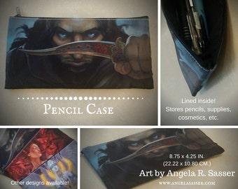 Fantasy Art Pencil Case with Zipper Closure Desert Warrior Prince with Dagger Cosmetics and Art Supplies Storage