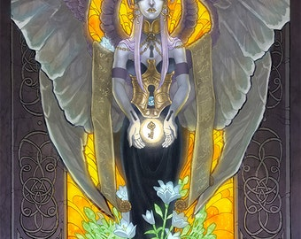 ART PRINT Keeper of Secrets Multi-Winged Dark Angel with Key and Flowers Art Nouveau Fantasy Art - Choose Your Size