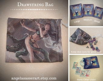 Drawstring Dice Tarot Oracle Deck Bag with Fantasy Art Belly Dancer Lotus Woman with Opium Pipe with Green and Gold