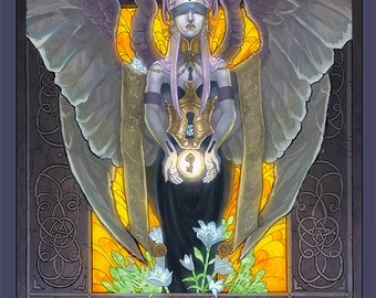 LIMITED EDITION CANVAS Print Keeper of Secrets Multi-Winged Purple Gold Dark Angel with Key and Flowers Art Nouveau Fantasy Art - Run of 250