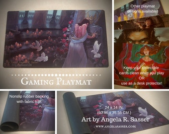 Fantasy Art Playmat Kushiel's Dart Phedre in the Temple with Roses, Doves, and Candles CCG Collectible Gaming Mat