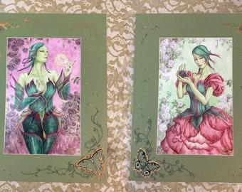 Embellished Mat - Rose Fae Seelie and Unseelie Set - Fairy Fantasy Floral Art Prints