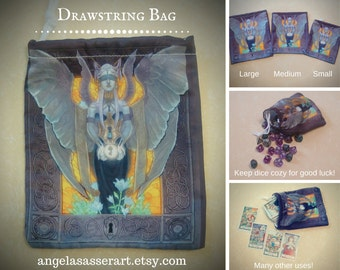 Drawstring Dice Tarot Oracle Deck Bag with Art Nouveau Purple and Gold Blindfolded Angel Wearing Corset with Stained Glass