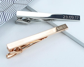Personalised Tie Clip, Custom Tie Bar, Gift for Groom or Usher, Engraved Tie Pin, Rose Gold, Silver, Gold Men's Jewellery, Wedding Day Gift